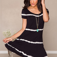 Shawna Tie-Dye Dress - Black