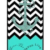 iZERCASE Live the Life You Love, Love the Life You Live. Turquoise Black White Chevron with Anchor Rubber iPhone SE / iPhone 5S Case - Fits iphone SE, iPhone 5S T-Mobile, AT&T, Sprint, Verizon and International