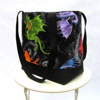 Dragon tote bag shoulder bag orange green blue Daenerys black