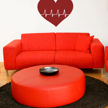Vinyl Wall Decal Sticker Heart Beat #OS_MB924