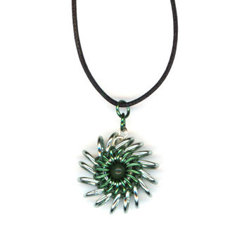 Whirlybird Style Chainmail Pendant, Light and Dark Green, Cord Necklace