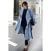Cowboy Style Button Decorate Strap Belt Loose Long Coat