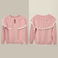 Pink Pearl Detail Long Sleeve Sweater