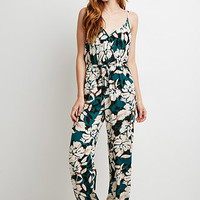 Watercolor Floral Surplice Jumpsuit