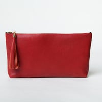 Red Leather Clutch,Purse,Wallet,Pouch