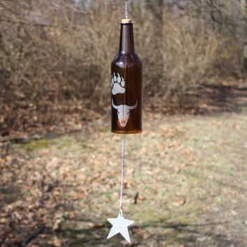 Southwest  Wind Chime, SW Symbols Wind Chime, Upcycled Liquor Bottle Wind Chime, Native American-symbol Wind Chime, Sand Etched Images