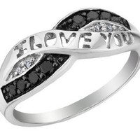 White and Black Diamond I Love You Promise Ring 1/10 Carat (ctw) in Sterling Silver