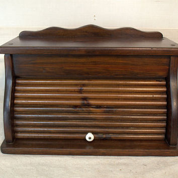 Wooden Roll Top Bread Box, Dark Wood Bread Bin