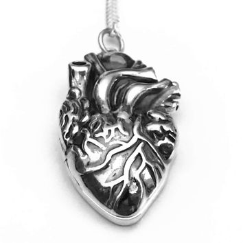 Anatomical Heart Locket, Heart Locket, Anatomical Heart Necklace, Anatomical Heart, Sterling Silver Pendant, Sterling Silver, Gifts for Her