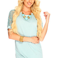 Seafoam Round Neckline Short Sleeve Mesh And Rope Detailing Loose Fitting Cute Summer Dress