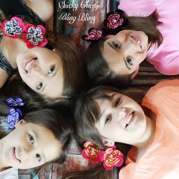 Girls Whimsical Ribbon Hair Flowers