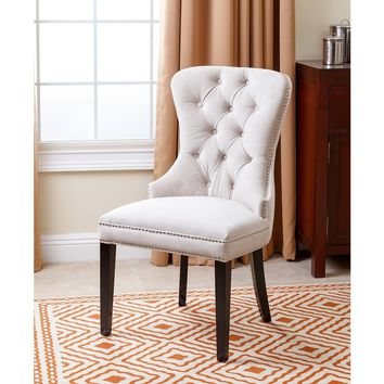Abbyson Versailles Tufted Dining Chair, Ivory | Overstock.com Shopping - The Best Deals on Dining Chairs