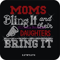 CHEER Mom - moms bling it and their daughters bring it - rhinestone hot fix iron on heat transfers for shirts - DIY applique cheer leader