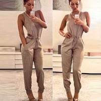 Women Sexy O-Neck Sleeveless High Waist Drawstring Jumpsuit Solid Pocket = 1658534084