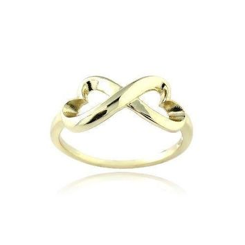 Gold Tone over 925 Silver Polished Infinity Heart Ring