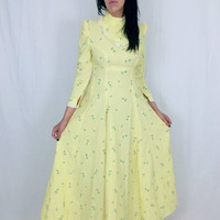 Vintage 60's Pale Yellow Crepe Polka Dot Floral Appliqué High Collar Victorian Style A-line Puffy Sleeves Mod Babydoll Maxi Dress S // M