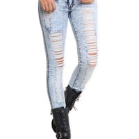 Puzzle Distressed Acid Wash Skinny Jeans | Hot Topic