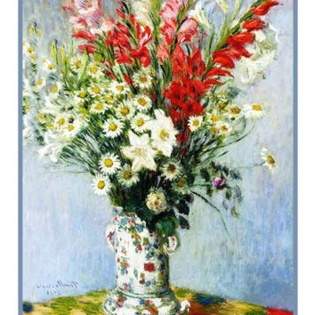 Bouquet of Lilies and Gladiolus inspired by Claude Monet's impressionist painting Counted Cross Stitch or Counted Needlepoint Pattern