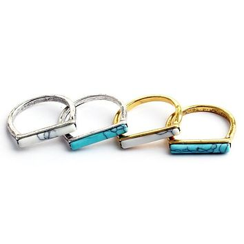 FIONA - Turquoise Bar Stackable Ring