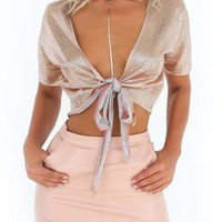Silver Stunna Metallic Open Knot Crop Top