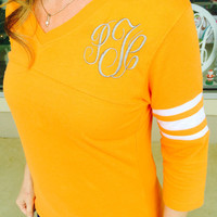 Monogrammed 3/4 length sleeve Orange/White football jersey Font shown MASTER CIRCLE in grey