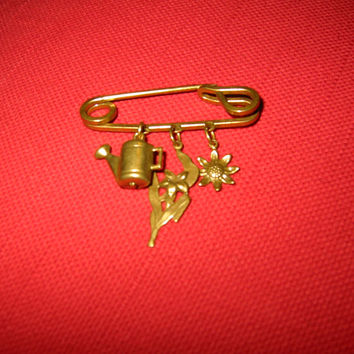 Gardening Golden Charms Bar Brooch Safety Pin Design