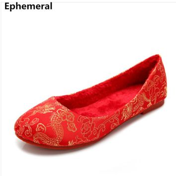 "Lady's soft bottom Chinese character embroidered flats""dragon and phoenix wedding shoes with fur for winter autumn Red 43-34 42"