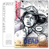 "THE WALKING DEAD - 2.5""x3"" Sketchcard Original Art ""Carl Grimes"""