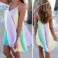 New Fashion Vintage Sleeveless Dress Summer Bandage Beach Dress = 1946692676