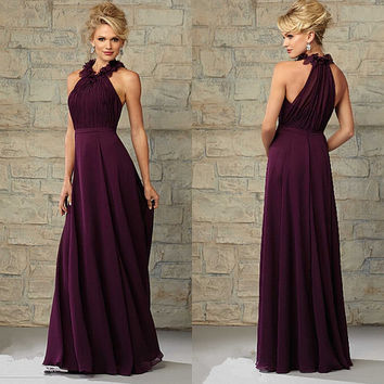 Purple bridesmaid dresses The new design bridesmaid dress Halter Burgundy chiffon prom dresses Graduation dress party dress Custom dress