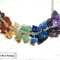Chakra Gemstone Cluster Necklace Jewelry Healing Crystals Wiccan Metaphysical Jewelry Wiccan Wicca Rainbow Yoga Hand Beaded Silver Chain