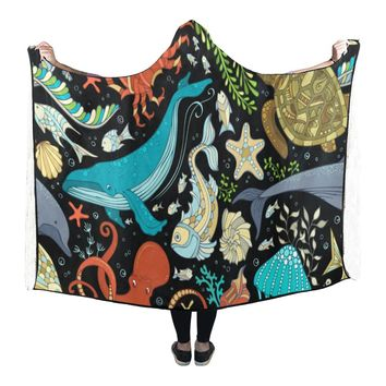 Hooded Blanket Sea Life Turtle Octopus Whale 80x53 Inch
