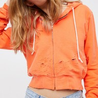 Free People Milan Cropped Zip Hoodie
