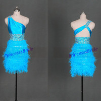 2014 short blue homecoming dress with ostrich feather,cheap women dresses for holiday party,unique gold sequins prom gowns hot.