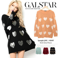 Rakuten: Have been received; winter pastel color silver or gold random spangles heart motif round neckline BIG silhouette low gauge knit tunic Mini One peace dress - knit dress knit dress- Shopping Japanese products from Japan