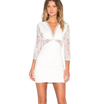 Lace Hollow Out Patchwork Slim One Piece Dress [6338963585]