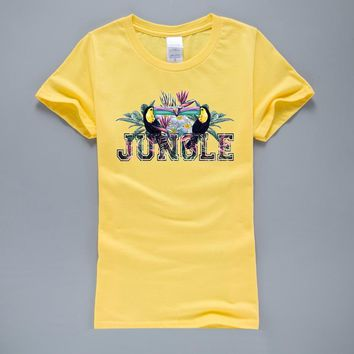 Creative Design Jungle T Shirt 2017 Summer Casual T-Shirts Animal Printed Women's T-Shirt Cotton High Quality Hipster Tops Tees
