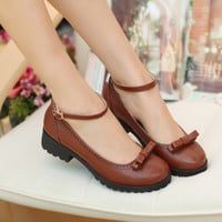Japanese college wind retro bow shoes