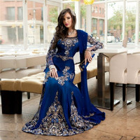 robe de soriee Muslim Formal Prom Dresses Royal Blue Long Sleeve Beaded Moroccan Kaftan Dress Muslim Evening Dress Dubai Winter