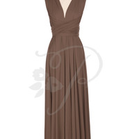 Bridesmaid Dress Infinity Dress Russet Brown Floor Length Wrap Convertible Dress Wedding Dress