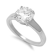 316L Stainless Steel 9mm Round CZ Solitaire Engagement/Wedding Ring; Comes with Free Box