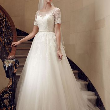 Casablanca Bridal 2194 Lace Cap Sleeve Ball Gown Sample Sale Wedding Dress
