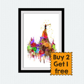 Little Prince watercolor print Little prince colorful poster The Little Prince wall art Home decoration Kids room decor Nursery room W341