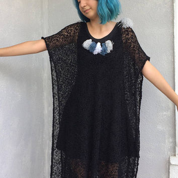 Oversize Poncho Top, Boho Fringe Top, Mesh Sheer Top, Black Knit Poncho, Festival Style Top, Long Hippie Poncho, Womens Outwear, Gothic Top