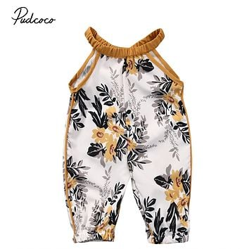Toddler Kids Baby Girls Clothing Outfit Girl Capris Rompers Retro Floral Printed Romper Jumpsuit Baby Clothes