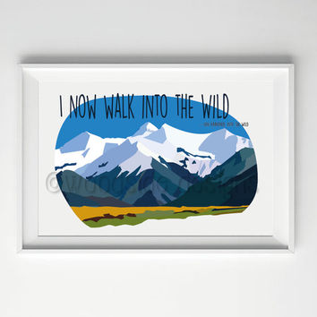 Into The Wild Print - Jon Krakauer Quote, INSTANT DOWNLOAD, Alaska Print, Wilderness Print, Abstract Art, Book Quote, Poster for book lovers