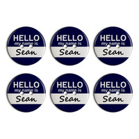 Sean Hello My Name Is Plastic Resin Button Set of 6
