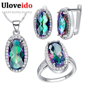 Set with Ring size 9 Fashion Designer Rhinestone Peridot Green Sapphire Bridal Wedding Silver Jewelry Sets for Brides 2015 for Women Blue Topaz T010