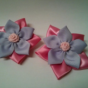 Stacked Flower Hair Bows (Pink & Lavender), Set of 2
