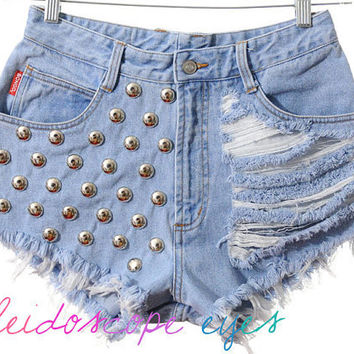 Bongo STUDDED Destroyed Trashed High Waist Denim Cut Off Studded Shorts S